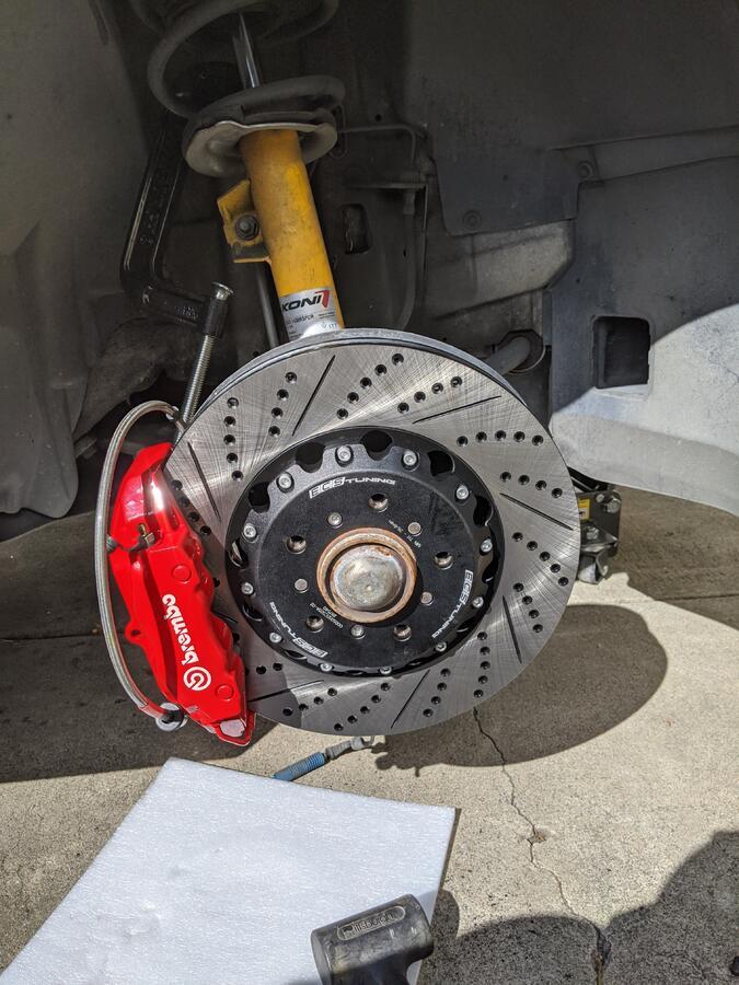 Rear Brake Pad Wear Wire Sensor Bmw E46 M3 CSL with Porsche Caliper Conversion
